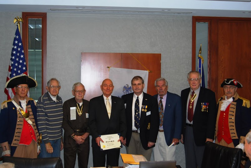 President Dirk Stapleton presented the NSSAR War Service Medal with certificate to Compatriot Carlin Talcott, at the January 12, 2013 meeting.  The medal and certificate honors Compatriot Talcott for his public service to his Nation, while serving in the Korean War.  We thank Compatriot Talcott for his service to this great nation   In addition, fellow Compatriots who served in the Korean War also recognized Compatriot Talcott during this ceremony.