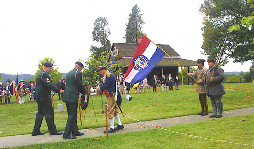 Robert L. Grover presenting a wreath at the Battle Days Memorial, Point Pleasant, WV during October 7 - 9, 2005