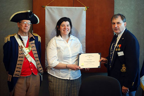 Pictured here is guest speaker, Mrs. Crystal Greer, along with President Dirk A. Stapleton and the Harry S. Truman Color Guard. Mrs. Greer conducted a presentation on Civil War Medicine. Mrs. Greer provided very interesting facts.  A Certificate of Appreciation was presented to Mrs. Greer after her presentation.