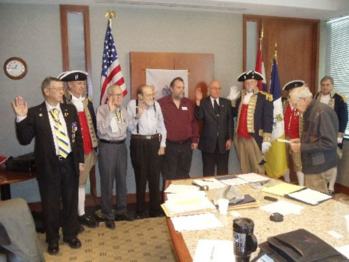 MOSSAR Treasurer Courtney Sloan is  shown here installing the Harry S. Truman Chapter Officers for 2015 at the January 10, 2015 meeting.   The Harry S. Truman Chapter Color Guard is also shown here during the installation.