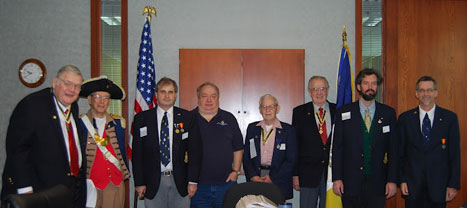 The Harry S. Truman Chapter was privileged to have MOSSAR State President Denis Craft conduct the 2012 HST Chapter Officer Installation at the January 14, 2012 meeting. The Harry S. Truman Chapter Color Guard is shown here during the installation. President Dirk Stapleton presented MOSSAR State President Denis Craft, who was also our guest speaker at the January 14, 2012 meeting, with a Certificate of Appreciation and a HST Chapter Challenge Coin.