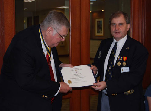 President Dirk Stapleton presented MOSSAR State President Denis Craft, who was also our guest speaker at the January 14, 2012 meeting, with a Certificate of Appreciation and a HST Chapter Challenge Coin.
