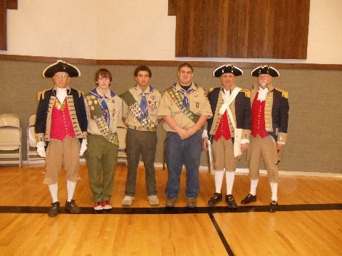 Pictured here include Eagle Scouts Christian Borton, Michael Matoney, and Tamasi Tul'one.  Each Eagle Scout was presented with a SAR certificate and SAR scouting patch by President Robert Grover on Wednesday, January 14, 2015, for their Boy Scout Eagle Scout accomplishment during their Eagle Scout Court of Honor.