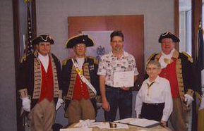 The Harry S. Truman Color Guard is shown here at the Harry S. Truman Chapter 272nd Meeting on February 9, 2008, in Independence, MO. Compatriot Brian Smarker is shown here, a recently new member to the Harry S. Truman Chapter, receiving a Certificate of Membership from President William W. Hartman, Harry S. Truman Chapter.