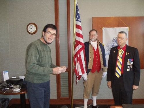 Pictured here guest speaker Compatriot Craig Dillaou, who is from the Monticello Chapter in Kansas. Compatriot Dillaou's topic was on the Secret Service.