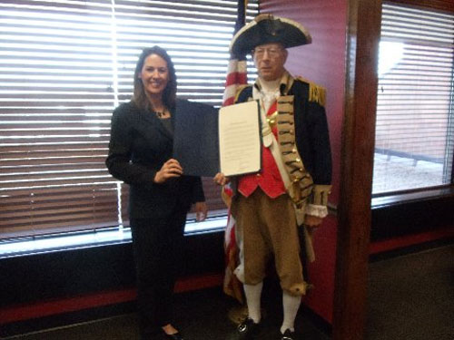 Pictured here is Harry S. Truman Chapter Member Robert L. Grover along with Independence Mayor Eileen N. Weir after signing the George Washington Birthday Proclamation for MOSSAR Harry S. Truman Chapter.