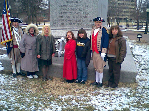 The Corps of Discovery Society Children of the American Revolution, and several local D.A.R. and S.A.R. Chapters celebrated Presidents Day 2008 with a Wreath Laying Ceremony at the Memorial of General George Washington at Washington Square Park in Kansas City, MO.  The MOSSAR and KSSSAR Color Guard is shown here during the ceremony. The statute of General George Washington was originally dedicated on Armistice Day 1925 and rededicated on Armistice Day 1932.