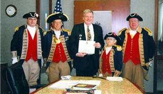The Harry S. Truman Color Guard is shown here at the Harry S. Truman Chapter 273rd Meeting on March 8, 2008, in Independence, MO.  Mr. Dennis Owens is shown here receiving a Cetificate of Appreciation as guest speaker on March 8, 2008 speaking on Understanding our Constitution.