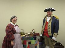 Pictured here is Sarah Poff and Compatriot Roy Hutchinson, a member of the Harry S. Truman Chapter Color Guard.   Compatriot Roy Hutchinson participated in the program during the Blue Springs DAR chapter genealogy workshop, which was held at Vesper Hall, Blue Springs, MO on March 9, 2015.