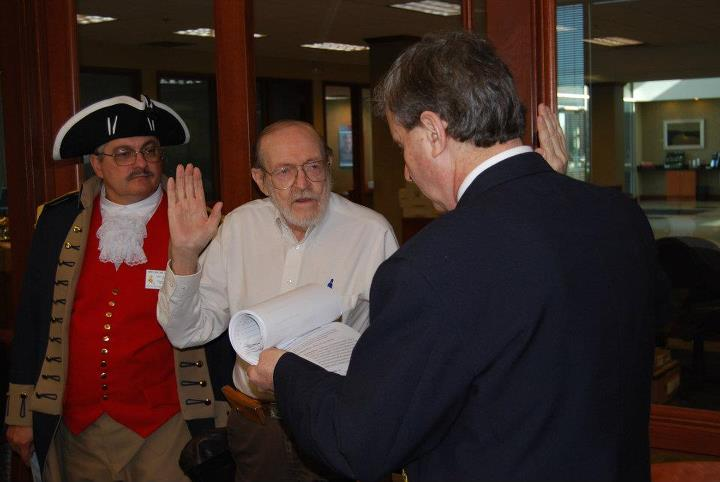 President Dirk Stapleton installed Compatriot George DeLapp as the Chapter Chancellor at the March 10, 2012 meeting. The Harry S. Truman Chapter Color Guard is shown here during the installation.