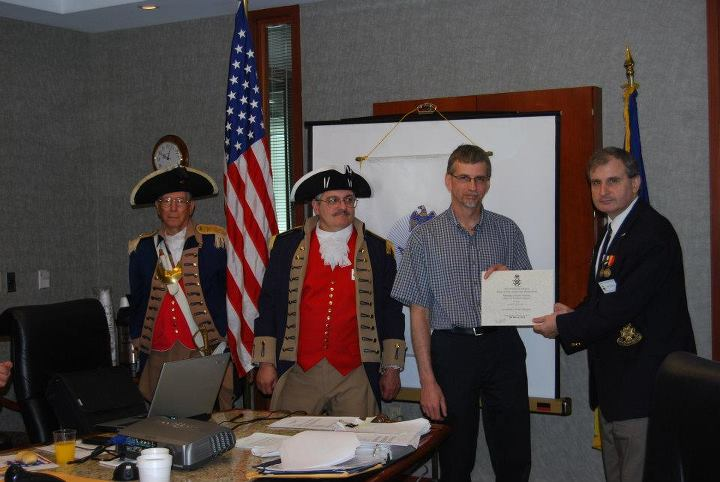 Pictured here is Compatriot Brian Smarker, President of the Captain Daniel Morgan Boone Chapter, Society of the War of 1812 in the State of Missouri. In observation of the 200th Anniversary of the War of 1812, Compatriot Smarker was our guest speaker at the March 10, 2012 meeting.  President Dirk Stapleton and the The Harry S. Truman Chapter Color Guard is shown here during the presentation to Compatriot Smarker with a Certificate of Appreciation.