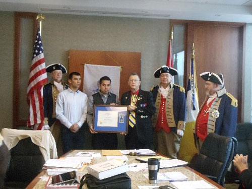 On behalf of the National Society of the Sons of the American Revolution and the George Washington Birthday Celebration Committee, the Harry S. Truman Chapter awarded Mr. Julio Gonzalez with the Medal for Heroism at the 356th Meeting on Saturday, March 14, 2015.   President Robert L. Grover and the Harry S. Truman Chapter Color Guard officiated during the ceremony.  All Harry S. Truman Chapter members congratulated Mr. Julio Gonzalez after the presentation.