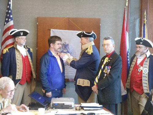 President Robert L. Grover and the Harry S. Truman Color Guard, are shown here conducting a New Member Induction for Compatriot Eric Munson, who was inducted into the SAR for his ancestor Patriot Abraham Van Horn, Sr. Patriot Van Horn was an Issuing forage-master, and in 1782 was a Private in Captain Richard Stillwells' Company of the New Jersey Militia.