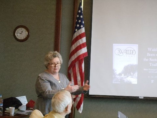 """The guest speaker at the March 14, 2015 Harry S. Truman Chapter meeting was LaDene Morton.  Her topic was  on  the """"Waldo Story — Born on the Santa Fe Trails""""."""