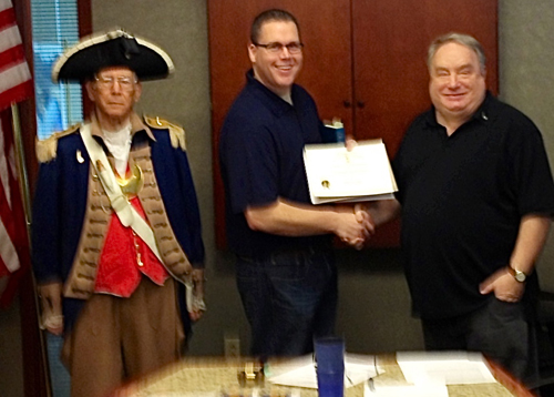 President Donald Lewis and the Harry S. Truman Color Guard, are shown here presenting Compatriot Christopher Vedder with a Supplemental Certificate on Saturday, April 13, 2013, on his patriot ancestor, Patriot Private John Scruggs.  Congratulations to Com­patriot Vedder.