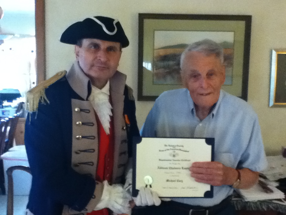 President Dirk Stapleton presented Compatriot Addison Lawton with two Supplemental Certificates on Saturday, April 21, 2012, on his patriot ancestors, Patriot Michael Cary and Patriot William Fusion. Congratulations to Com­patriot Lawson! Compatriot David McCann was also present for the ceremony.