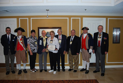 """Pictured here is the Harry S. Truman Color Guard Team, members and spouses of the Harry S. Truman Chapter, taken at the 121st Annual Missouri State Convention in St. Louis, Missouri on April 29-30, 2011.  In addition, Mrs. Shirley McCann, spouse of Compatriot David McCann, received the 2010 Winona R. Yohe """"Women of the Year"""" Award."""