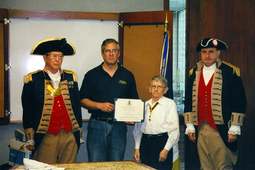 The Harry S. Truman Color Guard is shown here at the Harry S. Truman Chapter 275th Meeting on May 10, 2008, in Independence, MO. Commander James Nail, United States Navy Reserve, is shown here receiving a Cetificate of Appreciation as guest speaker on May 10, 2008 speaking on Operation Enduring Freedom - Afghanistan (OEF-A).  Commander Nail is also a memmber of the Harry S. Truman Chapter.