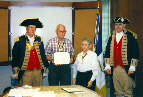 The Harry S. Truman Color Guard is shown here at the Harry S. Truman Chapter 275th Meeting on May 10, 2008, in Independence, MO. Compatriot David McCann is shown here receiving a Certificate of Appreciation for submitting seven new SAR approved applicants into the Harry S. Truman Chapter during the year 2007.