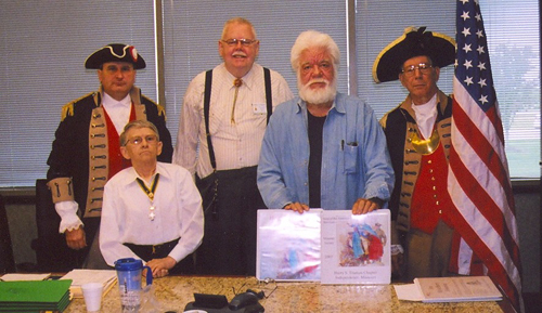 The Harry S. Truman Color Guard is shown here at the Harry S. Truman Chapter 275th Meeting on May 10, 2008, in Independence, MO. Compatriots Carroll R. Reinert and Jimmy Mickelberry are shown here receiving a Certificate of Appreciation for their efforts and accomplishments in their officer assignments as Secretary and Historian respectively, for the year 2007 in the the Harry S. Truman Chapter.