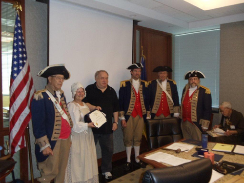 President Donald Lewis and the Harry S. Truman Color Guard, are shown here presenting Ms. Barbara Hughes, who was our guest speaker at the May 11, 2013 meeting, with a Certificate of Appreciation and a Harry S. Truman Challenge Coin. Ms. Hughes spoke on the on the life of a Colonial Indentured Servant.