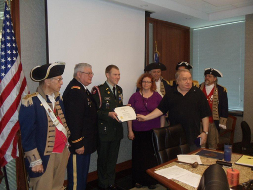 President Donald Lewis and the Harry S. Truman Color Guard, are shown here presenting Ms. Barbara Hughes, who was our guest speaker at the May 11, 2013 meeting, with a  Certificate of Appreciation and a Harry S. Truman Challenge Coin. Ms. Hughes spoke on the on the life of a Colonial Indentured Servant.   Ms. Hughes, is a member of the Civil War Roundtable of Western Missouri.  Ms. Hughes taught American History for 26 years and is now retired. She is a professional historian and serves on the board of The Civil War Roundtable of Western Missouri.