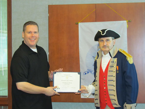 The Harry S. Truman Chapter inducted Compatriot Christopher Vedder into the ranks at the 323rd Meeting on Saturday, May 12, 2012. President Dirk A. Stapleton and the Harry S. Truman Chapter Color Guard officiated during the ceremony.  President Dirk Stapleton presented Compatriot Christopher Vedder with his membership oath, membership certificate, and challenge coin.