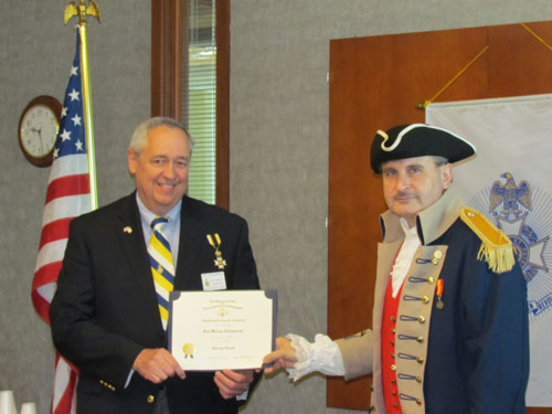 President Dirk Stapleton presented Compatriot Roy Hutchinson with a Supplemental Certificate on Saturday,  May 12, 2012, on his patriot ancestor, Patriot George Nixon.  Congratulations to Compatriot Hutchinson!