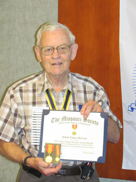Chapter and MOSSAR State Genealogist David McCann is shown here with the Missouri State Society Gold Medal and Certificate on Saturday, May 12, 2012.  The Missouri State Society Gold Medal was presented to Genealogist McCann at the MOSSAR 122nd MOSSAR Convention on April 28,2012 in Branson, Missouri.  Genealogist David McCann  is the 14th individual to receive this award.  Upon behalf of MOSSAR, the Harry S. Truman Chapter congratulates Genealogist McCann in all of his efforts as Genealogist.