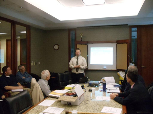 Pictured here is guest speaker, Mr. Jake Ersland, Archivist for the National Archives in Kansas City, Missouri.  Mr. Ersland spoke on Civil War Provost Marshal Records. Topics included Types of records created; Registers of Drafted Men, Recruits, and Substitutes; the Medical Registers of Examinations; Registers of Medical Examinations Showing Rejections and Exemptions; and Descriptive Book of Arrested Deserters. Mr. Ersland also provided information on Other Types of Records Available; and Researching.