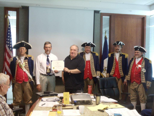President Donald Lewis and the Harry S. Truman Color Guard, are shown here presenting Compatriot Brian Smarker, who was our guest speaker at the June 8, 2013 meeting, with a  Certificate of Appreciation. Compatriot Smarker spoke on Parliamentary Procedures.  Parliamentary procedure is the body of rules, ethics, and customs governing meetings and other operations of clubs, organizations, legislative bodies, and other deliberative assemblies. In the United States, parliamentary procedure is also referred to as parliamentary law, parliamentary practice, legislative procedure, or rules of order.