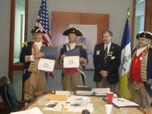 The Vietnam Veterans of America, Heart of America Chapter, Chapter 317 has awarded MOSSAR & HST Chapter Color Guard Commander Robert L. Grover and Compatriot Jack Quint, a Certificate of Appreciation for participating in the Memorial Day Ceremony at the Vietnam Memorial in Kansas City, MO on Memorial Day on May 28, 2012