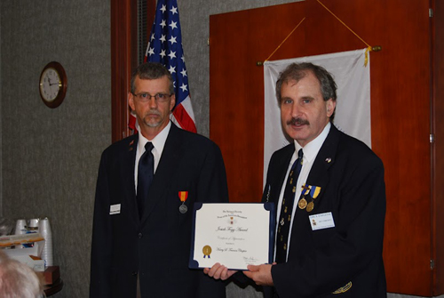 President Dirk Stapleton is shown here presenting a MOSSAR Certificate of Appreciation to Historian Brian Smarker, in recognition of Historian Smarker's hard work and dilligence in preparing the chapter's 2011 Yearbook. Upon behalf of MOSSAR and the Harry S. Truman Chapter, we wish to congratulate Historian Smarker for this achievement.