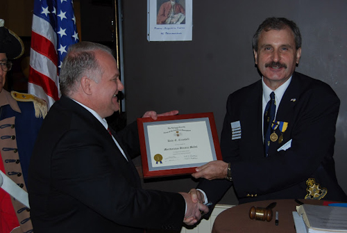Compatriot Dale Crandell received the NSSAR Meritorious Service Medal for his service as Chapter Secretary and Veterans Liaison Committee Chair.  Compatriot Crandell  has made many contributions to the Harry S. Truman Chapter and also actively attends several MOSSAR events and functions.  Compatriot Crandell was recognized for his exceptional accomplishments that is making our Chapter a better organization.