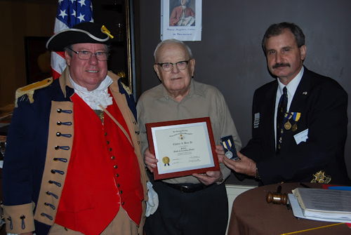 President Dirk Stapleton of the Harry S. Truman Chapter and President James Scott of the Independence Patriots Chapter conducted a joint award presentation.  President Stapleton and President Scott presented the NSSAR Silver Good Citizenship Medal to Compatriot Chester Bare for his service of over 40 plus years in the medical care of his community; and also serving as a dual member of the Harry S. Truman Chapter and Independence Patriots Chapter as Chapter Surgeon.