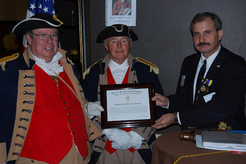 President Dirk Stapleton presented the Independence Patriots Chapter with a Certificate of Appreciation, for their assistance in local Harry S. Truman Chapter events and special activities in past years.  Upon behalf of the Independence Patriots Chapter, President James Scott and Compatriot Al Paris accepted the Certificate of Appreciation.