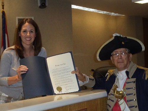 Pictured here is Harry S. Truman Chapter Member Robert L. Grover along with Independence Mayor Eileen N. Weir after signing the 30 Year Proclamation for MOSSAR Harry S. Truman Chapter.