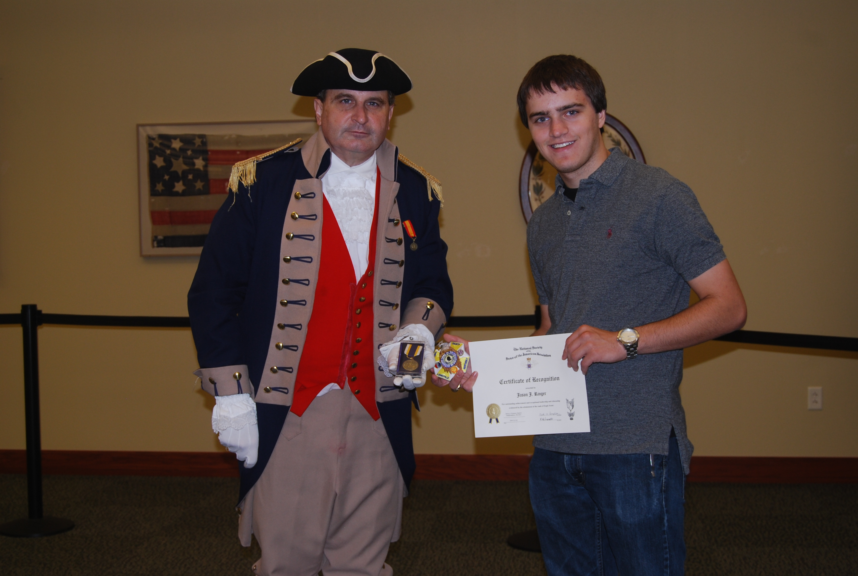 Pictured here are Eagle Scout Jason Ringer and President Dirk Stapleton of the Harry S. Truman Chapter. Eagle Scout Ringer was presented with his NSSAR Medal, certificate, NSSAR scouting patch, and a monetary award by President Dirk Stapleton on August 6, 2011.  The Harry S. Truman Chapter nominated Eagle Scout Ringer for submitting his application and essay for the NSSAR Eagle Scout Scholarship program.