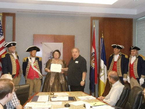 President Donald Lewis and the Harry S. Truman Color Guard, are shown here presenting Linda Hardin Sehrt, who was our guest speaker at the August 9, 2014 meeting, with a Certificate of Appreciation.