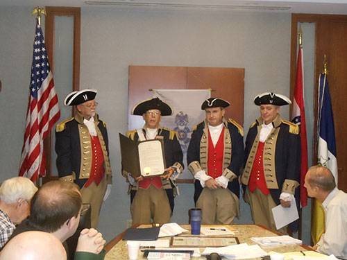 Compatriot Robert L. Grover received a Proclamation recognizing the 30th anniversary of the Harry S Truman Chapter of the Missouri Sons of the American Revolution from Mayor Eileen N. Weir on 4 August 2014 at the Council Chamber of Independence, Missouri. Thank you to Compatriot Grover for obtaining the proclamation.
