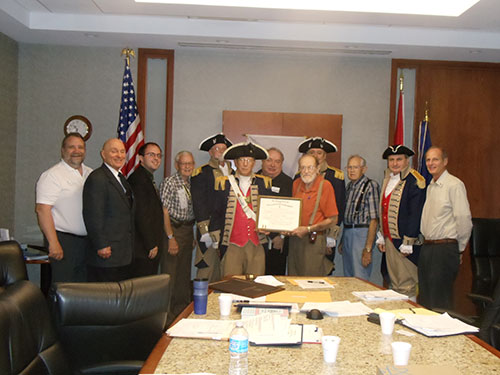 President Donald Lewis and the Harry S. Truman Color Guard, are shown here celebrating the Thirty year anniversary of Harry S Truman Chapter.  Of the 34 original charter members only three charter members remain. Compatriot Robert L. Grover  and Compatriot George DeLapp are shown here as the original charter members.