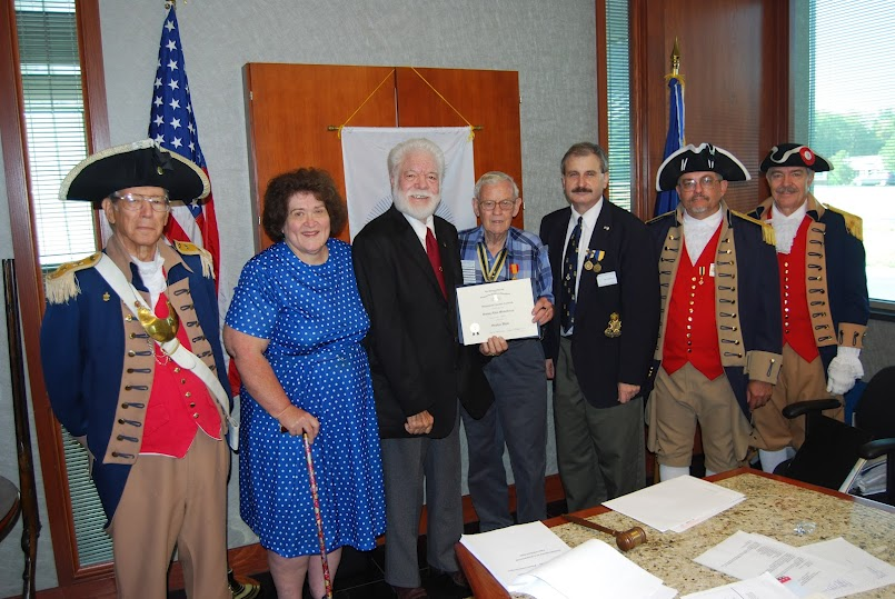 President Dirk Stapleton presented Compatriot Jimmy Mickelberry with a Supplemental Certificate on Saturday,  August 11, 2012, on his patriot ancestor, Patriot Stephen White.  Congratulations to Com­patriot Mickelberry!