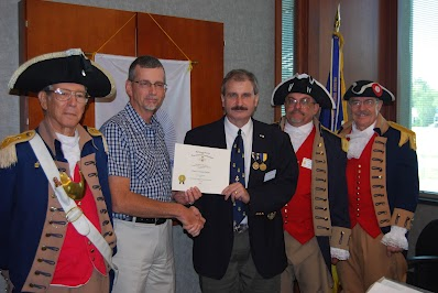 Shown here is the Harry S. Truman Color Guard team and President Dirk Stapleton presenting a MOSSAR Certificate of Appreciation to Historian Brian Smarker, in recognition of Historian  Smarker's hard work and dilligence in preparing the chapter's 2011 Yearbook. Upon behalf of MOSSAR and the Harry S. Truman Chapter, we wish to congratulate Historian Smarker for this achievement.