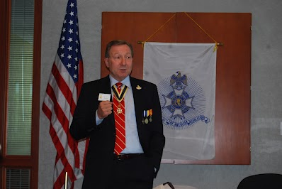 Pictured here is guest speaker, Compatriot Robert Corum, President of the William C. Corum Chapter, in which he discussed the 19 American Revolutionary War patriots buried in Clay County, Missouri.  Compatriot Robert Corum is a direct descendant of Patriot William C. Corum.  President Corum offered many facts on the 19 patriots, including their contributions to the American Revolution, information on militias that they were assigned to, burial locations in Clay County, Missouri, etc.
