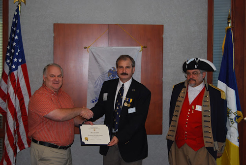 Pictured here is Compatriot Dale Crandel, who was honored at the chapter meeting, in which he received a Certificate of Appreciation for compiling monthly articles.  The Harry S. Truman Chapter features monthly articles and posting of a biography about each Patriot on the chapter's website .   The Harry S. Truman Chapter has embarked on this project as a tribute to each patriot buried in Northwest Missouri.