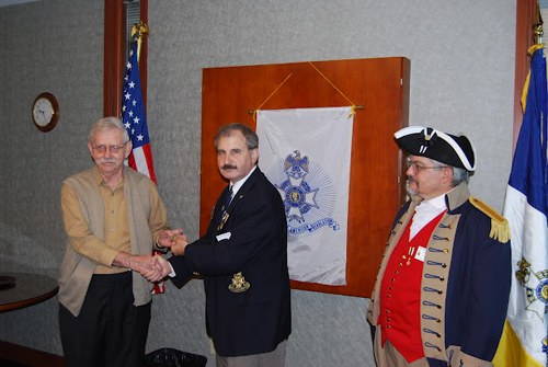 The Harry S. Truman Chapter introduced Compatriot William D. Connelly as the newest meber to the Harry S. Truman Chapter at the 327th Meeting on Saturday, September 8, 2012. Compatriot Connelly was welcomed into the Harry S. Truman Chapter, after successfully transferring from the North Carolina SAR Society. Compatriot Connelly was presented with his chapter challenge coin during his introduction and was also welcomed by chapter members. Congratulations and welcome Compatriot William D. Connelly.