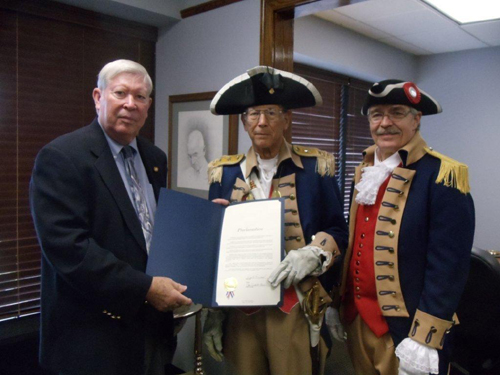 Pictured here is Mayor Don B. Reimal, City of Independence, Missouri and the Harry S. Truman Chapter Color Guard, during the presentation ceremony of the U.S. Constitution Day and Citizenship Day Proclamation in the City of Independence, Missouri, on Tuesday, September 11, 2012.