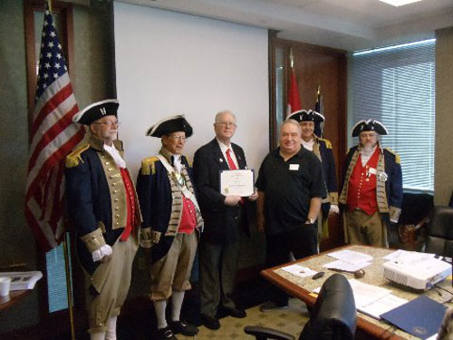 President Donald Lewis and the Harry S. Truman Color Guard, are shown here presenting a Certificate to the second guest speaker, Compatriot Doug Wood, Past President of NHSSAR and VPG NSSAR New England Region.  Compatriot Doug Wood spoke on the seizure of Fort William and Mary in December of 1774.