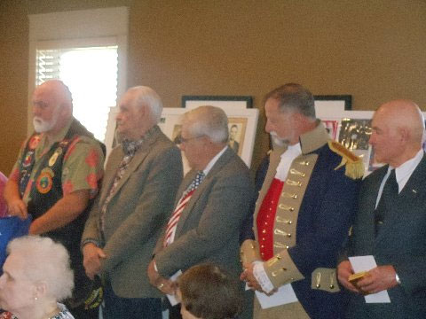 Pictured here is the Harry S. Truman Chapter Color Guard and members who attended DAR Independence Pioneers Veterans Day Program on Tuesday, November 11, 2014, in Independence, Missouri.