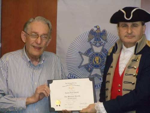 The Harry S. Truman Chapter inducted Compatriot Perry Dean Marks, Sr. into the ranks at the 318th Meeting on Saturday, December 10, 2011. President Dirk A. Stapleton and the Harry S. Truman Chapter Color Guard officiated during the ceremony. President Dirk Stapleton presented Compatriot Perry Dean Marks, Sr. with his membership oath and membership certificate.